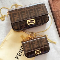 Wearwinds Fendi New fashion more letter print chain shoulder bag crossbody bag two piece suit