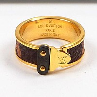 LV Louis Vuitton Trending Women Stylish Leather Stainless Steel Ring Jewelry Rose Golden