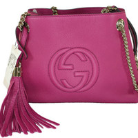 Gucci Handbag - Soho Chain Mini Leather Shoulder Bag- Hot-Pink Color - Model #387043