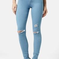 Women's Topshop Moto 'Joni' Ripped Skinny Jeans (Light Denim)
