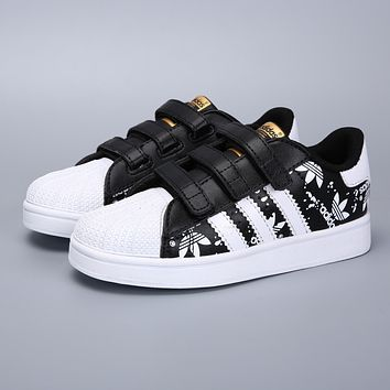 Adidas Original Superstar White Black Velcro Toddler Kid Shoes