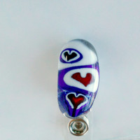 Fused glass Plastic ID Badge holder w/Metal Clip - fused glass badge holder clips - hearts -white - blue - red - ID badge - ID accessory