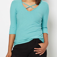 Turquoise Caged V-Neck Top