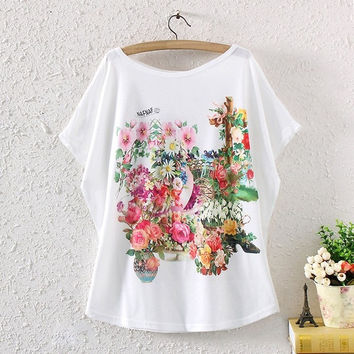 Summer Women Batwing Short Sleeve Floral Graphic Printed Loose T Shirt Tee Tops (Color: White) = 1945667588