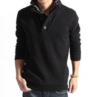 West Street Haku [3 COLORS] Men's Solid Faux Double Shirt Collar Knit Sweaters