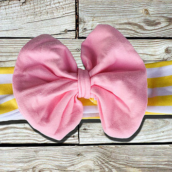 Yellow Striped Big Pink Bow Headband