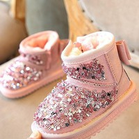 New Pink Round Toe Flat Bow Sequin Fashion Ankle Boots