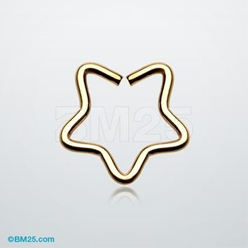 Golden Star Hoop Cartilage Tragus Earring