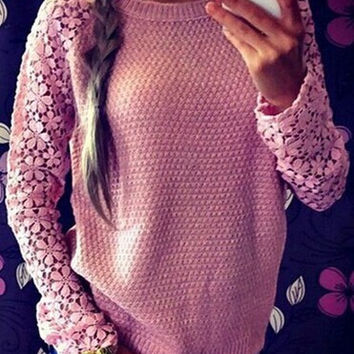 Cupshe Flower On My Arm Lace Sleeves Sweater