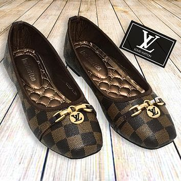 elainse29 LV Tide brand classic checkerboard flat shallow mouth square head single shoes coffee check