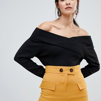 Vila off shoulder knitted sweater at asos.com