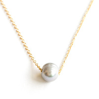 Meridian Avenue | Single Dove Grey Pearl Necklace