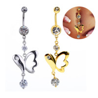 Fashion Hollow out butterfly shaped zircon belly button ring antiallergic Navel Belly Ring-0429-Gifts box