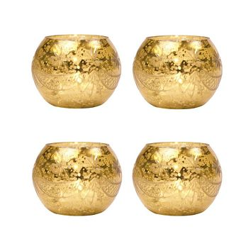 4 Pack | Vintage Mercury Glass Globe Candle Holders (3-Inch, Mary Design, Gold) - For use with Tea Lights - Home Decor, Parties and Wedding Decorations