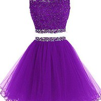 Purple Beadings Two Pieces Homecoming Dress