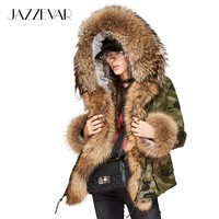 New High Fashion Winter Jacket Women's Luxurious Real large raccoon fur collar Parkas Hooded Coat Outwear