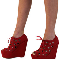 Pep In Your Step Wedges: Red - Shoreline Boutique