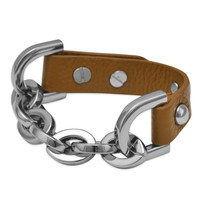 """8"""" Tan Leather Fashion Bracelet with Chunky Silver Tone Chain"""