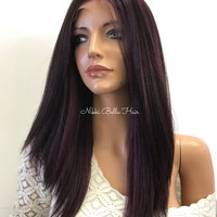 Burgundy Full Lace Human Hair Blend Wig -  Keann 61017 3 ON SALE