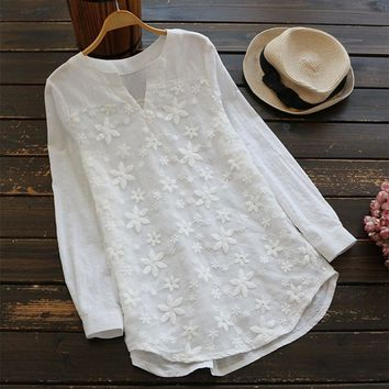 2018 Summer ZANZEA Women Elegant Solid Floral Embroidery Baggy Shirt Casual Vintage V Neck Long Sleeve Tops Work Office Blouse