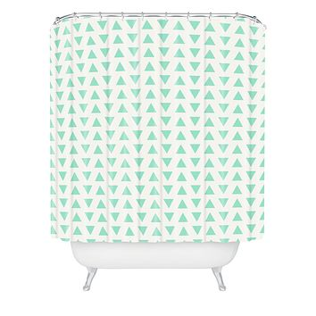 Allyson Johnson Minty Triangles Shower Curtain