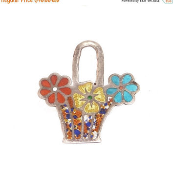 Sale - Valentines Day Sterling Flower Basket Brooch Vintage Red, Yellow, Blue Enamel Flowers from Mexico Marked EDF