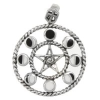 Sterling Silver Moon Phase Pentacle Pentagram Pendant - Wiccan Pagan Jewelry