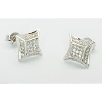 Sterling Silver Hip Hop Stud Earrings 10mm Micropave CZ Raised Square