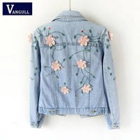 Trendy Vangll Women Slim Embroidered Three-dimensional Flowers Long Sleeve Denim Jacket 2018 Brand Spring Autumn Women's Jeans Coat AT_94_13