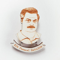 Parks & Recreation Brooch - 'Ron Swanson'