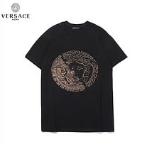 Versace Fashion New Diamond Human Head Women Men Top T-Shirt Black