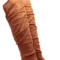 Over the Knee Faux Suede Camel Boots