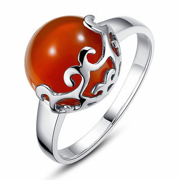 Sterling Silver Filigree Ring W. Red Onxy
