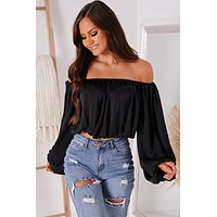 My New Mantra Off The Shoulder Top (Black)