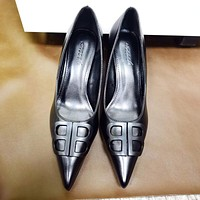 Balenciaga new pointed toe double B letter buckle high-heeled stilettos Shoes Black