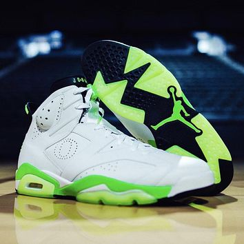 Air Jordan 6 Retro Oregon Ducks White Green PE Men Sneakers