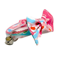 Cat Collar with Removable Bow Made from Lilly Pulitzer Jellies be Jammin Fabric (Breakaway Buckle)