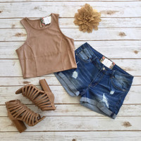 Suede Crop Top in Camel