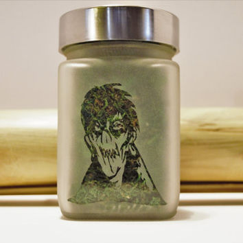 Zombie Etched Glass Stash Jar- Free UPGRADE to Priority Mail within the US