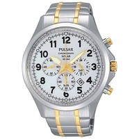 Pulsar Mens Business Collection Solar Chronograph - White Dial - Two Tone