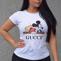 GUCCI x Disney Summer Women Lovely Mickey Mouse Print Cotton T-Shirt Top Blouse