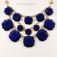 NEW Navy Blue Necklace,Cluster Necklace,Bubble Necklace,Bib Necklace,Statement Necklace,Bridal Party Necklace-BN0335