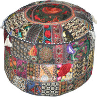 Bohemian Rajasthali Patchwork Pouf Ottoman Traditional Indian foot Stool Cover - Free