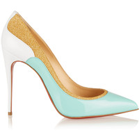Christian Louboutin - Tucsick 100 glitter-trimmed patent-leather pumps