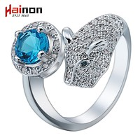 Hot Sale drop shipping silver Plated leopard head rings Fashion Jewelry animal blue crystal cz men wedding ring for women