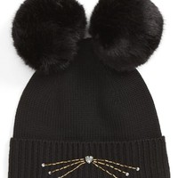 kate spade new york embellished cat wool beanie with faux fur poms | Nordstrom