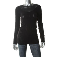 Free People Womens Textured Mesh Inset Casual Top