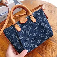 LV Louis Vuitton Women's Printed Letter Denim Dumpling Bag Tote
