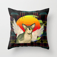 Sphynx Angel by Sunset Throw Pillow by Ange Irwin - Sequin Dreams Studio
