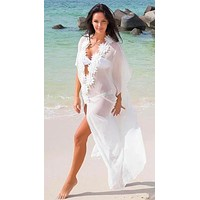 White Sheer Deep Plunge w/ Flower Detail Long Beach Cover Up